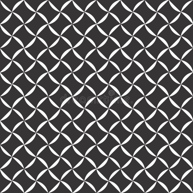 Fondo negro y blanco geométrico floral inconsútil decorativo del modelo Flores, geometría stock de ilustración