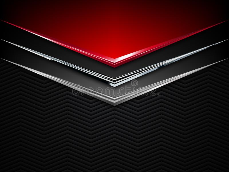 Fondo negro y rojo del metal Bandera metálica del vector Fondo abstracto de la tecnología ilustración del vector