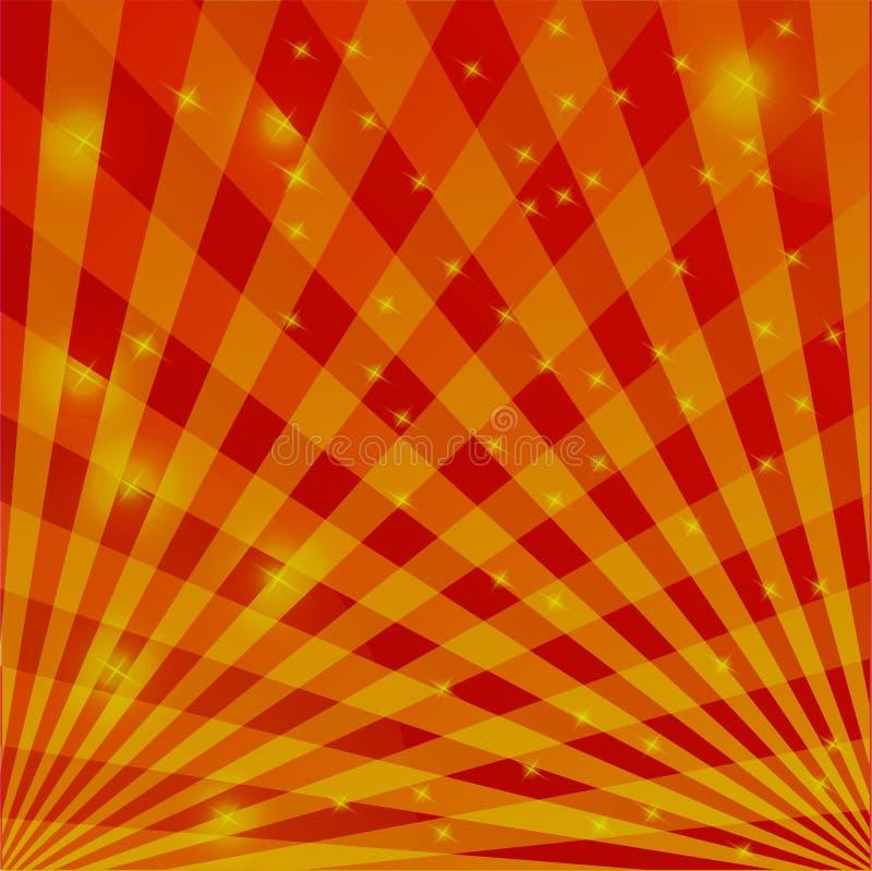 Fondo nei toni rossi e gialli delle linee d'intersezione con le luci tremule illustrazione vettoriale