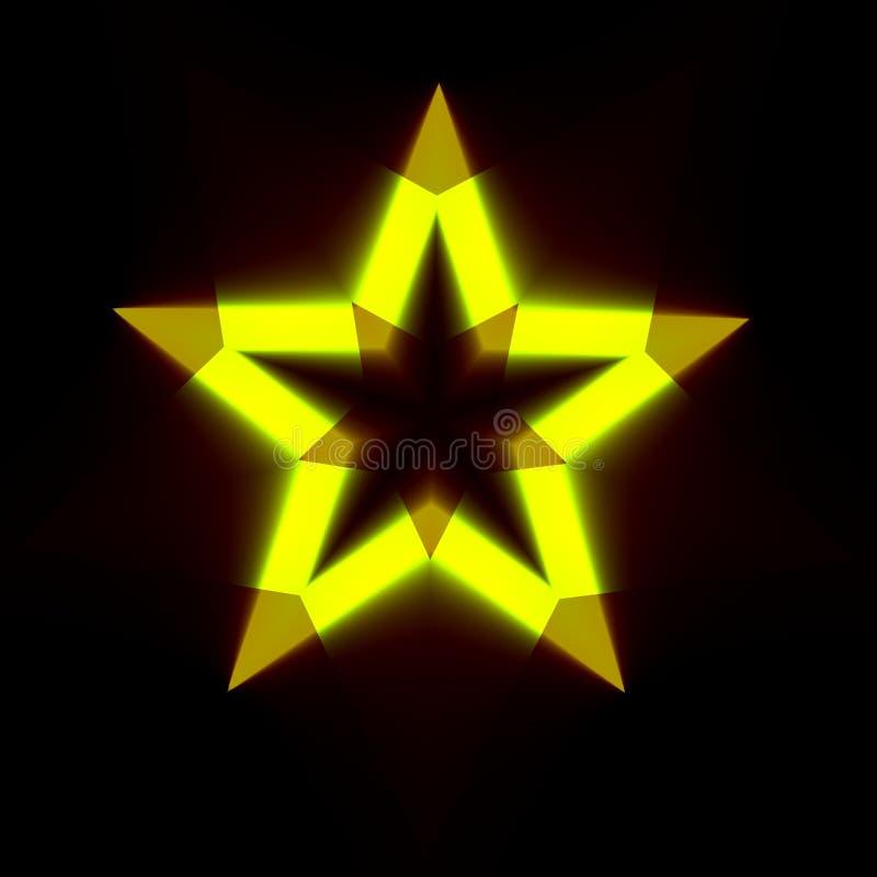 Fondo nero astratto con forma leggera della stella Contesto scuro di Digital con il simbolo giallo d'ardore Icona a colori creati illustrazione di stock