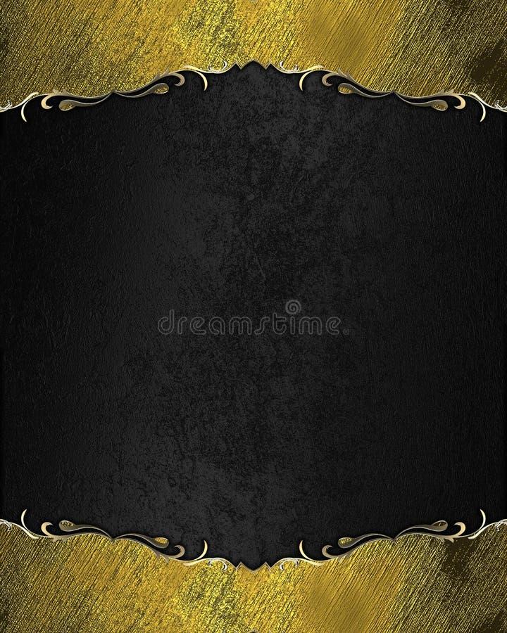 Fondo nero astratto con la struttura con oro Mascherina per il disegno copi lo spazio per l'opuscolo dell'annuncio o l'invito di  illustrazione di stock