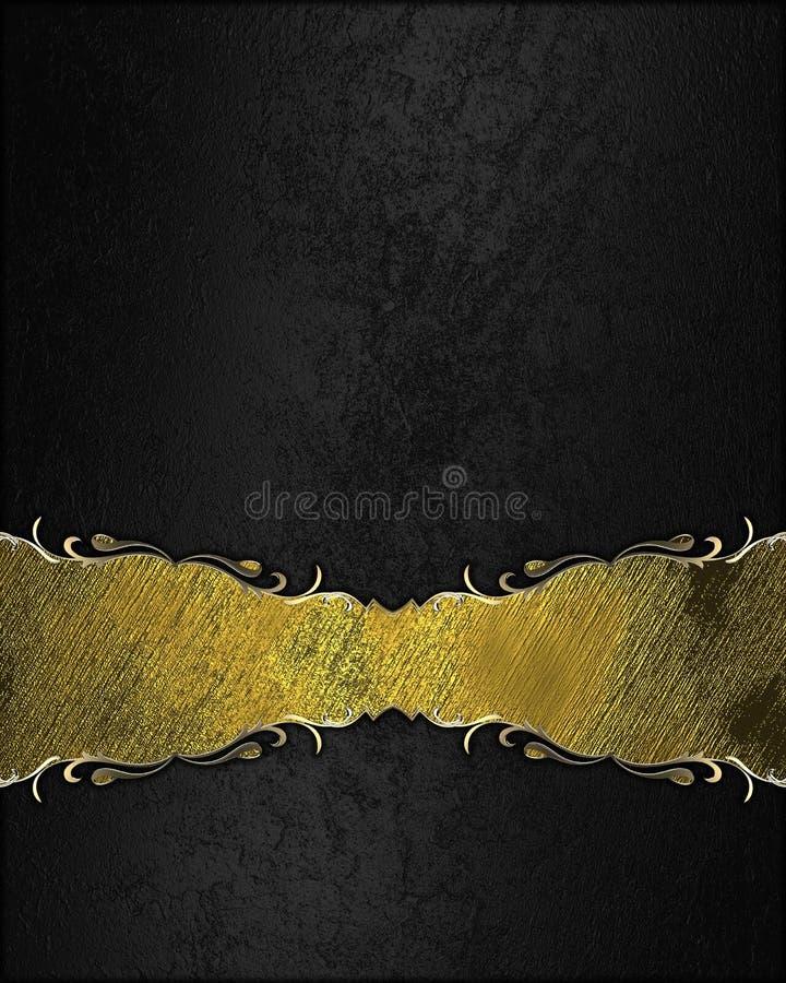Fondo nero astratto con la struttura dell'oro per testo Mascherina per il disegno copi lo spazio per l'opuscolo dell'annuncio o l royalty illustrazione gratis