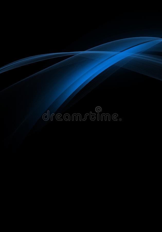 Fondo nero astratto con le linee dinamiche blu per la carta da parati, il biglietto da visita o il modello royalty illustrazione gratis