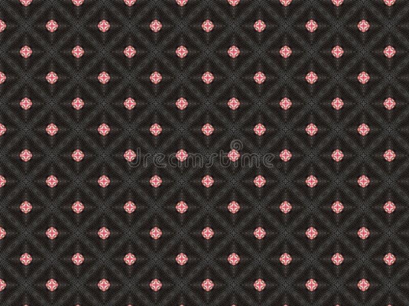 Fondo nero astratto cucito con un filo d'argento sotto forma di una stella nel rosso nel centro immagine stock libera da diritti