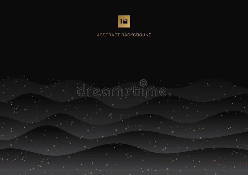 Fondo nero astratto dell'onda e scintillio brillante dell'oro con spazio per testo illustrazione vettoriale