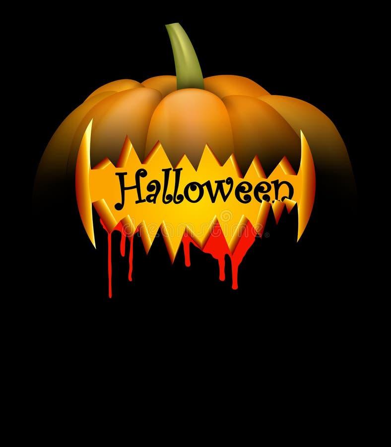Fondo nero con la zucca di Halloween illustrazione vettoriale