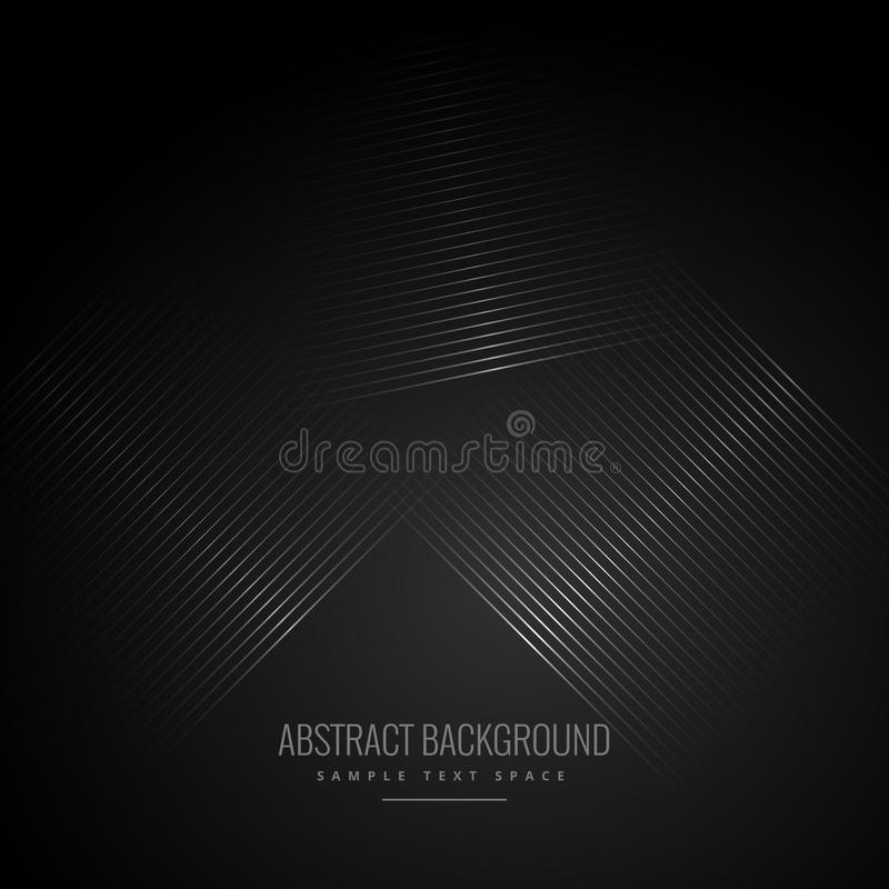 Fondo nero con le linee diagonali astratte illustrazione di stock