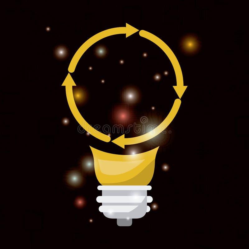 Fondo nero con luminosità della lampadina variopinta con forma circolare della freccia di tecnologia futura illustrazione di stock