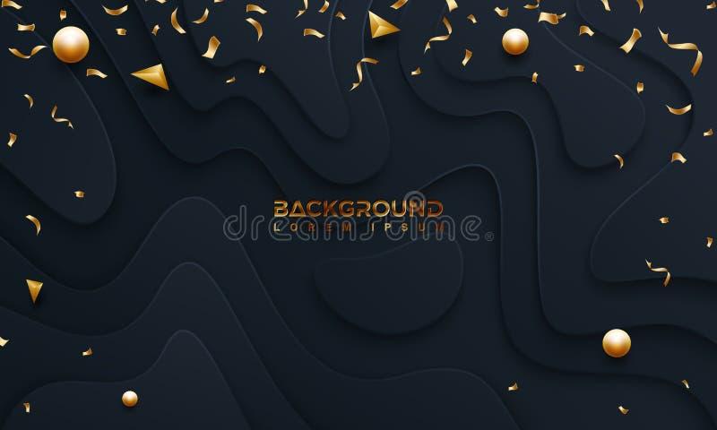 Fondo nero con stile 3D fondo astratto con una struttura ondulata Illustrazione di vettore con scintillare dorato sul buio illustrazione vettoriale