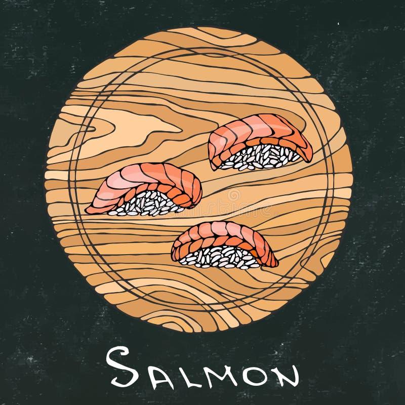 Fondo nero del bordo di gesso Sushi Nigiri con Salmon Fish sul tagliere rotondo Fetta del taglio del pesce per la cottura, festa illustrazione di stock