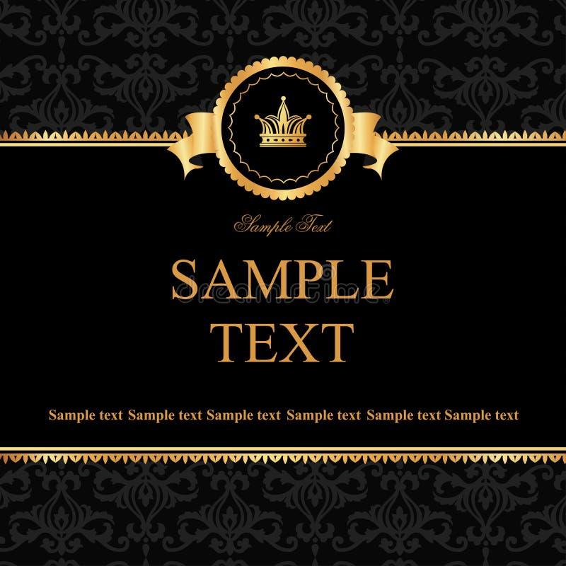 Fondo nero del damasco dell'annata con la struttura degli elementi dorati royalty illustrazione gratis