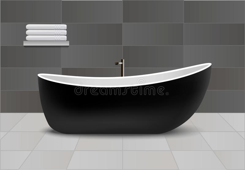 Fondo nero di concetto della vasca, stile realistico illustrazione di stock