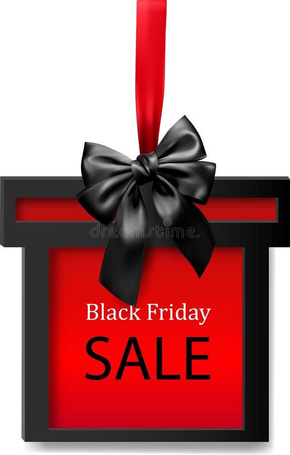 Fondo nero di vendita di venerdì con il contenitore di regalo illustrazione di stock