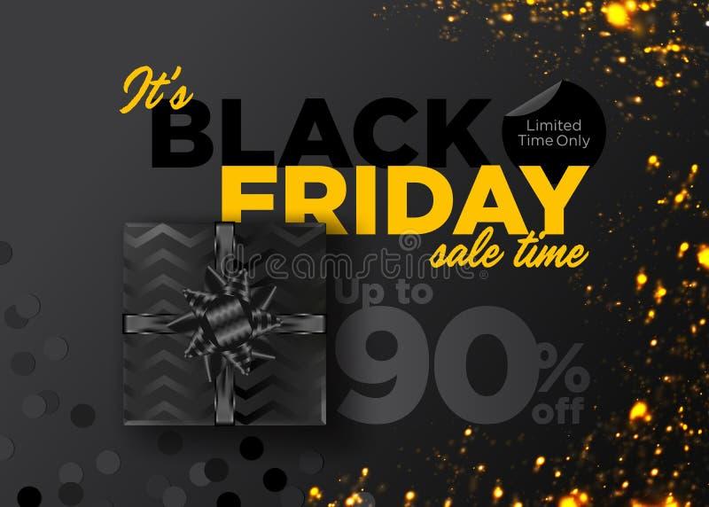 Fondo nero di vettore di vendita di venerdì Insegna di promozione di affari royalty illustrazione gratis