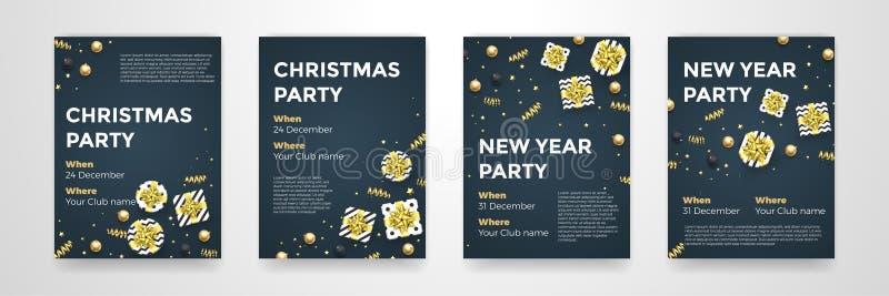 Fondo nero dorato di progettazione di vettore dei manifesti del partito di vacanza invernale del nuovo anno di Natale royalty illustrazione gratis