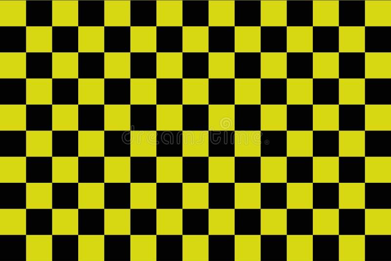 Fondo nero e giallo della scacchiera - ilustration di vettore - ENV 10 illustrazione di stock