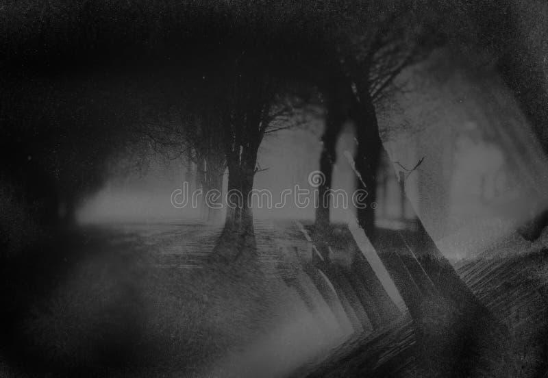Fondo nero e grigio della via della città di notte nello stile di lerciume fotografia stock