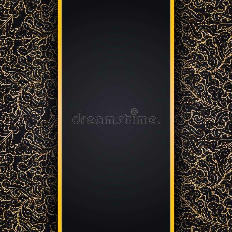 Fondo nero elegante con l'ornamento del pizzo dell'oro illustrazione di stock