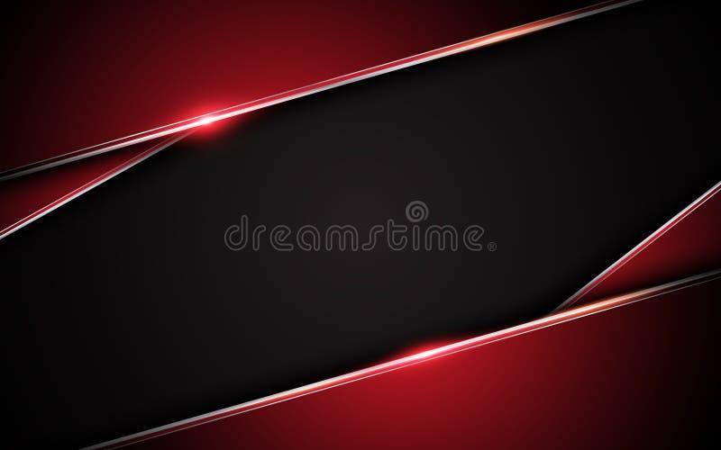 Fondo nero rosso metallico astratto di concetto dell'innovazione di tecnologia di progettazione della disposizione della struttur