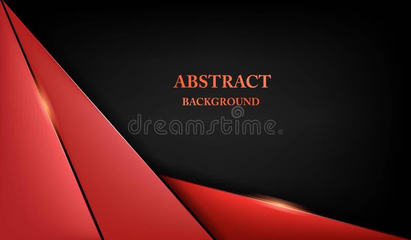 Fondo nero rosso metallico astratto di concetto dell'innovazione di tecnologia di progettazione della disposizione della struttur illustrazione vettoriale