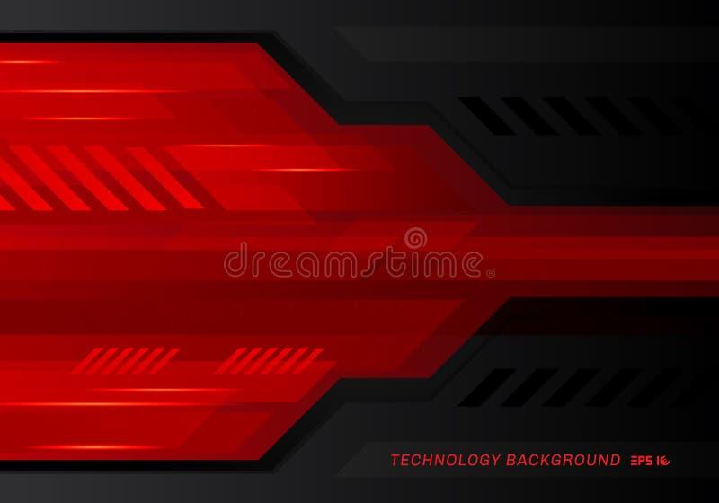 Fondo nero rosso metallico dell'innovazione di tecnologia di contrasto di tecnologia dell'estratto illustrazione di stock