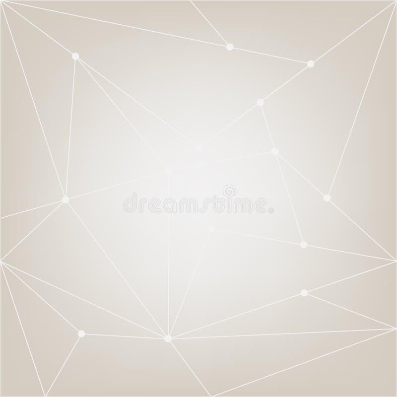 Fondo netto astratto di vettore Modello grigio e bianco moderno della rete Poli illustrazione del collegamento Disegno di Infogra illustrazione di stock