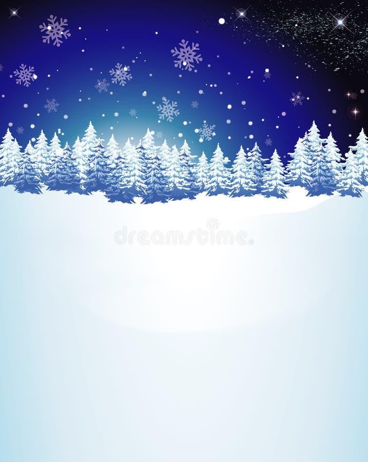 Fondo nevicato degli alberi di Natale illustrazione di stock