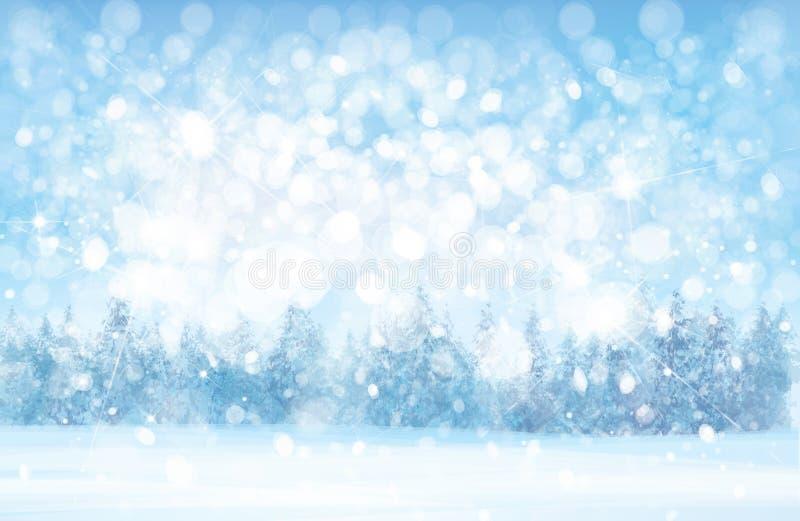 Fondo nevoso del bosque del invierno del vector libre illustration
