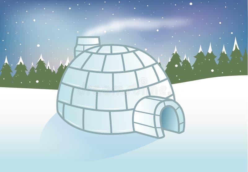 Fondo nevoso del iglú ilustración del vector