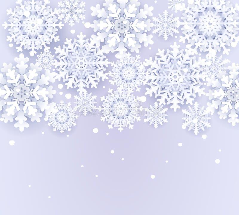 Fondo nevoso di Natale con i fiocchi di neve Modello dell'insegna del tempo di inverno Precipitazioni nevose tagliate di carta Bu royalty illustrazione gratis