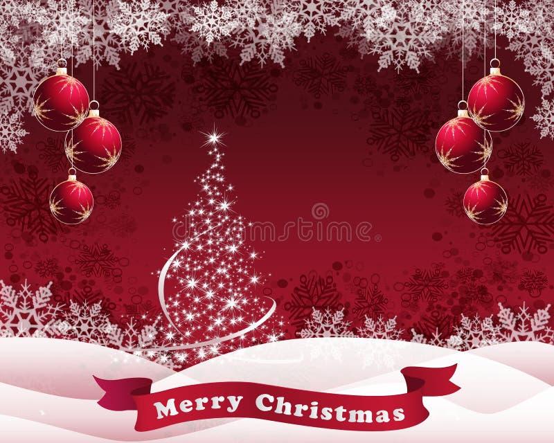 Fondo nevoso rojo de la Navidad libre illustration