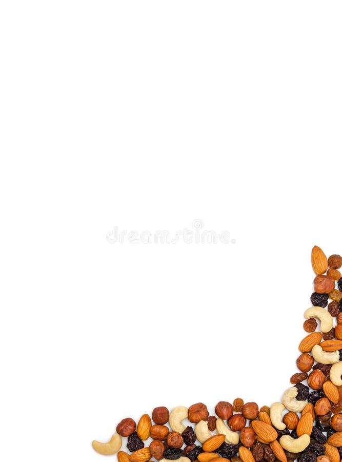 Fondo Nuts y seco de las frutas imagen de archivo libre de regalías