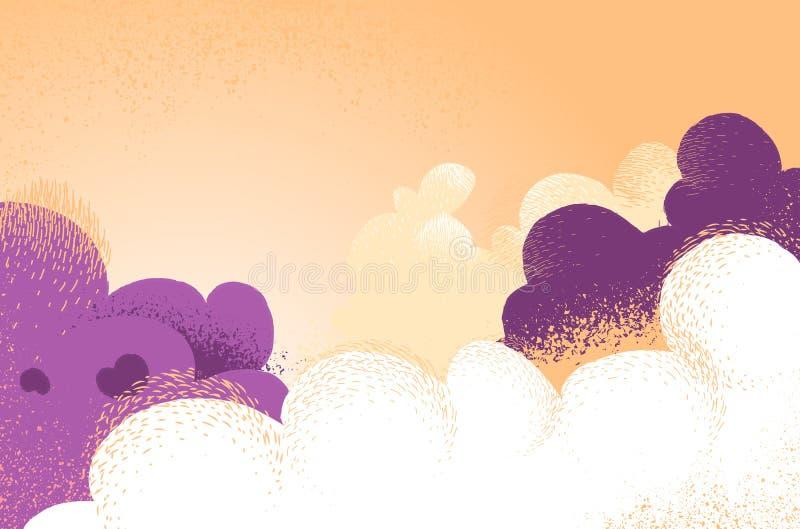 Fondo nuvoloso con i colori e le luci spettacolari royalty illustrazione gratis