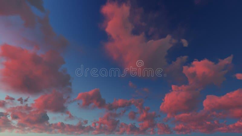 Fondo nuvoloso dell'estratto del cielo blu, illustrazione 3d fotografie stock