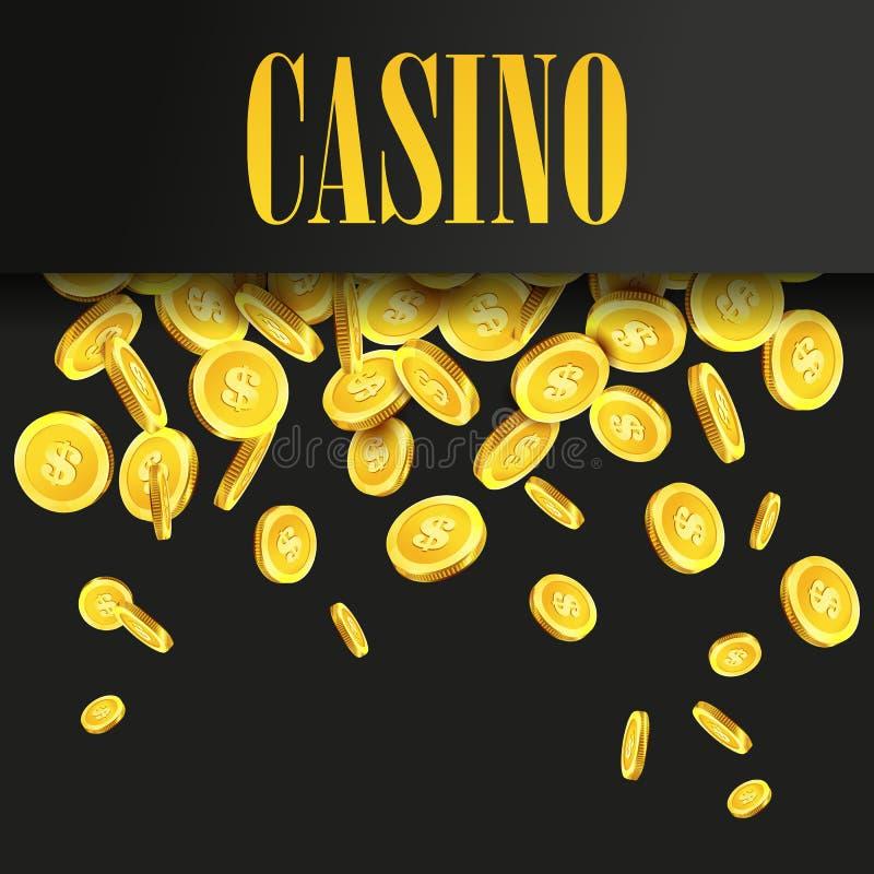 Fondo o aviador del cartel del casino con las monedas de oro del dinero stock de ilustración