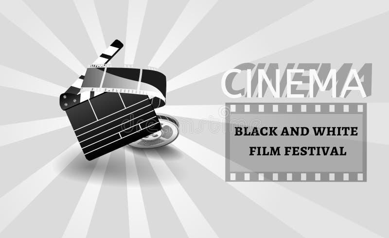 Fondo o bandera del cine blanco y negro Aviador de la película o plantilla del boleto stock de ilustración