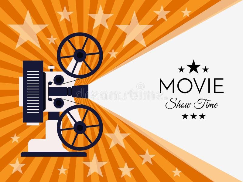 Fondo o bandera del cine Plantilla del boleto del aviador de la película ilustración del vector