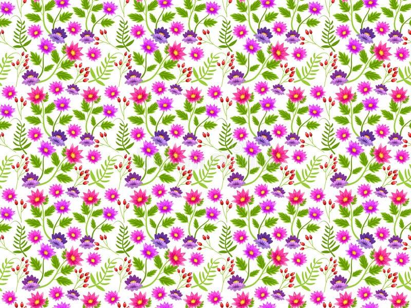 Fondo o carta da parati con il modello floreale ripetuto e senza cuciture Illustrazione illustrazione vettoriale