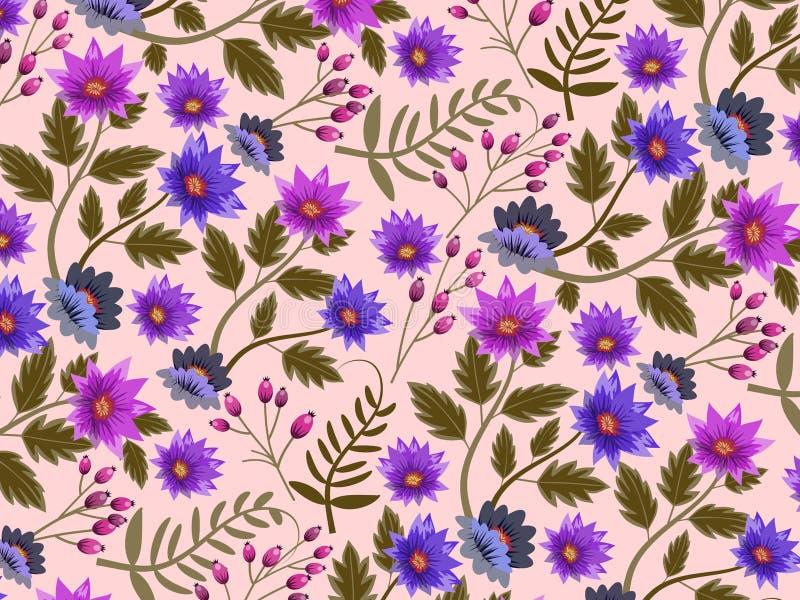 Fondo o carta da parati con il modello floreale ripetuto e senza cuciture Illustrazione royalty illustrazione gratis