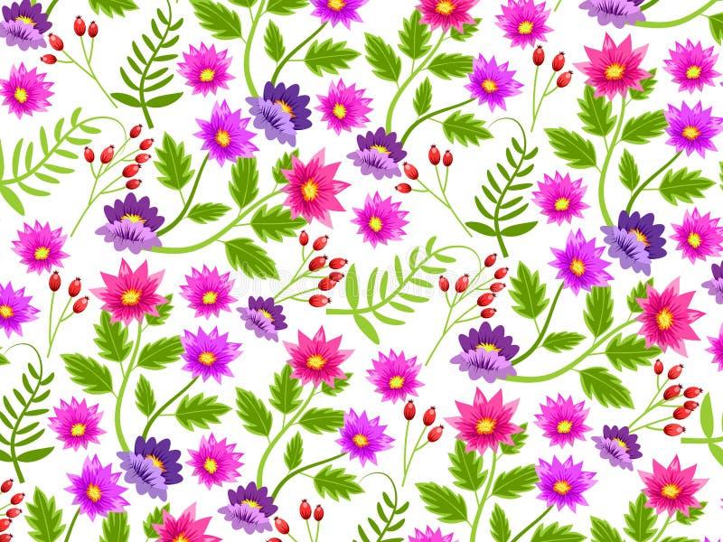 Fondo o carta da parati con il modello floreale ripetuto e senza cuciture Illustrazione illustrazione di stock