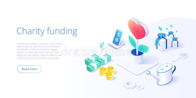 Fondo o cura di carità nel concetto isometrico di vettore Illustrazione volontaria della metafora di donazione o della comunità illustrazione vettoriale