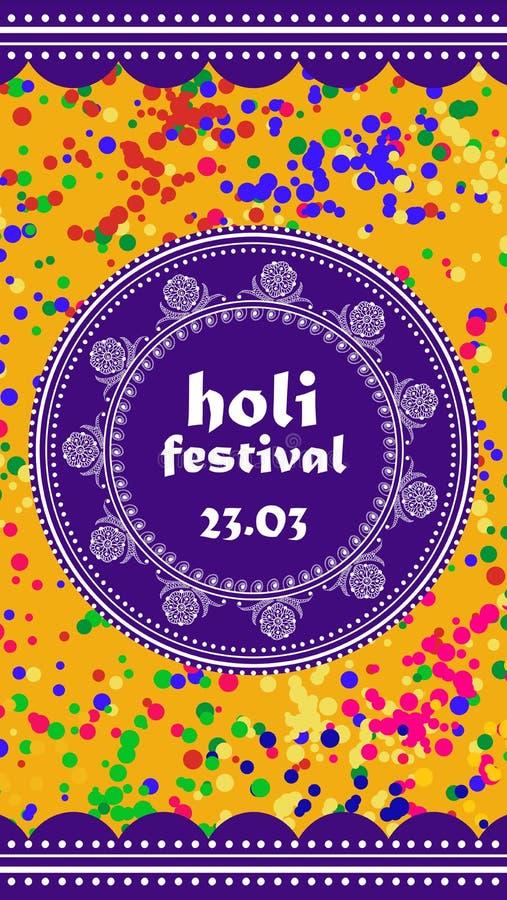 Fondo o insegna di vettore per il festival di Holi Holi felice Progettazione per la celebrazione royalty illustrazione gratis