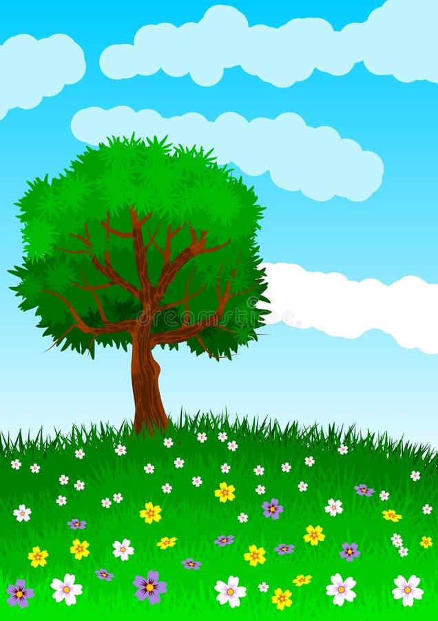 Fondo o papel pintado con el tema de un árbol solitario en la colina verde y florida Ilustración stock de ilustración