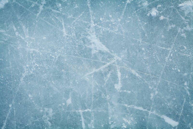 Fondo o textura de la pista de hockey sobre hielo desde arriba, macro,