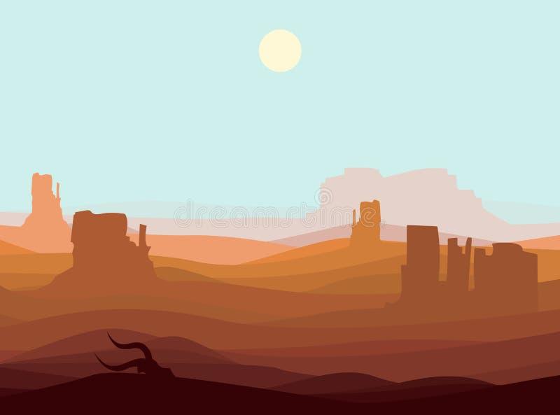 Fondo occidental del paisaje del desierto stock de ilustración