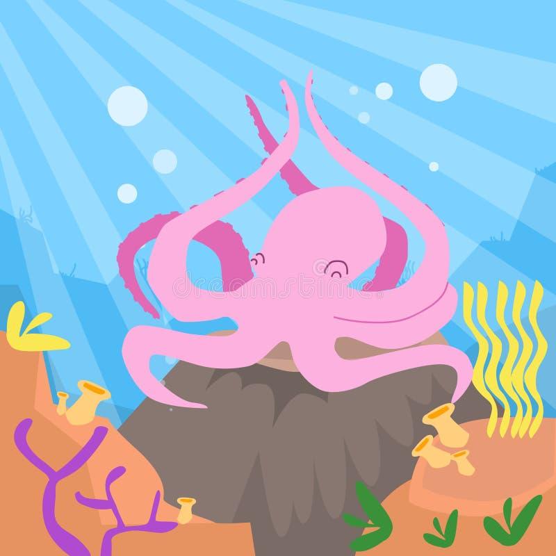 Fondo oceánico profundo subacuático del pulpo rosado de la historieta libre illustration