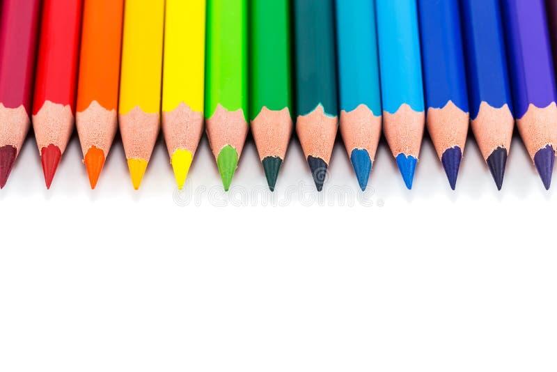 Fondo olorful dell'arcobaleno del ¡ di Ð con le matite immagine stock libera da diritti