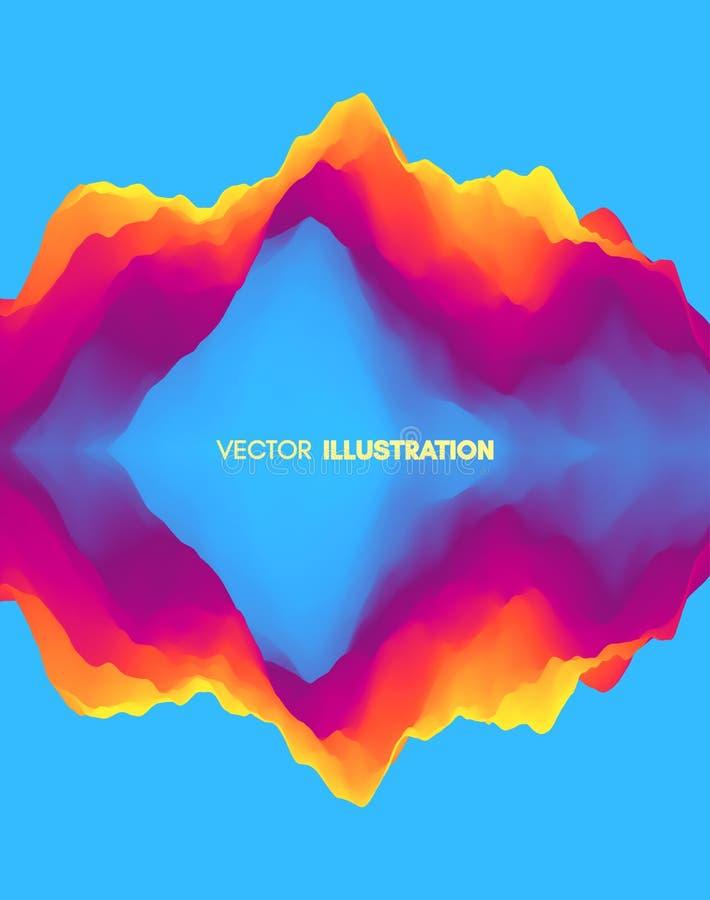 Fondo ondulado abstracto con la reflexión Pendientes de moda con simetría Efecto dinámico Diseño del vector para el app móvil y c stock de ilustración