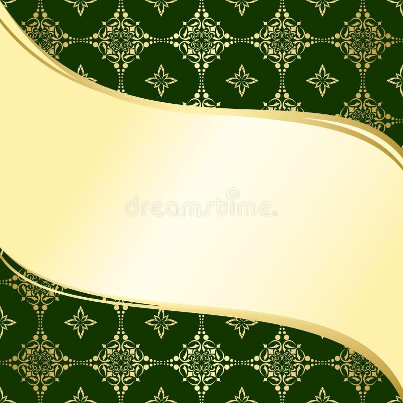 Fondo ondulado abstracto del verde y del oro stock de ilustración