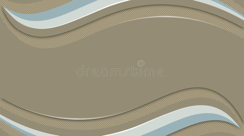 Fondo ondulado de Brown, luz y líneas azules ilustración del vector